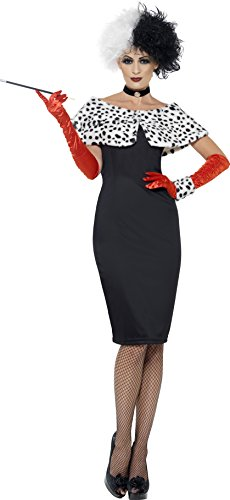 Smiffys, Damen Böse Madame Kostüm, Kleid mit Handschuhen, Handgelenkmanschette, Halsband und Schulterüberwurf, Größe: L, (Fee Kostüm Ideen Böse Halloween)