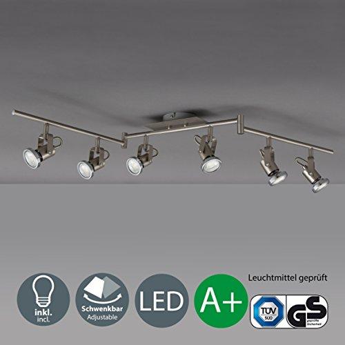 B.K.Licht LED Deckenleuchte I schwenkbare Decken-Lampe I inkl. 6 x 5 W Leuchtmittel | beweglichen Decken-Spots I Wohnzimmerlampe I 6 Spotlights I moderner Deckenstrahler I Metall I matt nickel I 230V[Energieklasse A+]