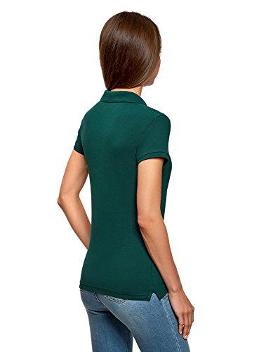 oodji Ultra Damen Pique-Poloshirt Basic Grün (6E00N)