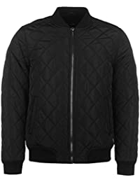 Firetrap Mens Quilted Bomber Jacket Coat Top Long Sleeve Zip Full Warm