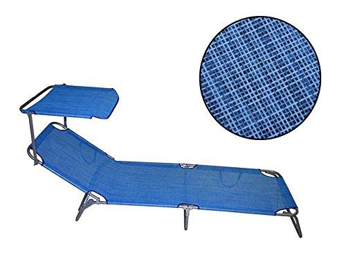 Vetrineinrete® lettino da spiaggia schienale regolabile con tettuccio parasole in textilene per mare piscina campeggio sdraio richiudibile e portatile (blu) x