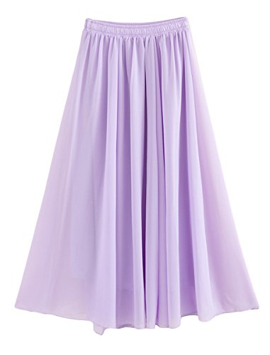 Feoya Damen Sommerrock Boho Retro Maxi Langer Rock Elastische Taille Double Layer Chiffonrock Einfarbig Faltenrock Strandrock Long Skirt Violett - 90 cm - Kleid Chiffon-langes Lila