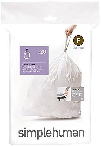 simplehuman - Code F, Custom Fit Bin Liners, 20 Pack - 25 Litre