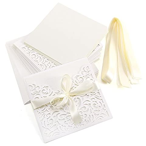 10er Ivory Weiss Einladungskarten Elegant Spitze Design mit Karten, Umschläge, Schleifer, Einlegeblätter OHNE DRUCK Hochzeit Geburtstag Taufe Party Einladung #28