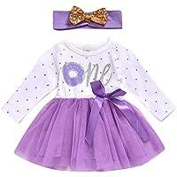 ZHMEI Vestido niña Boda | Vestido de Malla de Punto para bebés recién Nacidos para bebés + Diadema Trajes de cumpleaños Ropa 0-24 Meses