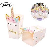 Ouken 12 Piezas Palomitas de maíz Cajas de bocadillos de Arco Iris Unicornio patrón Tratar Caja de Palomitas de bebé de cumpleaños Navidad Fiesta