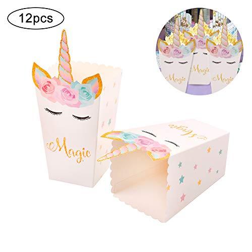Ouken 12 PCs Popcorn Snack-Boxen Regenbogen Unicorn Muster Treat Box Popcorn Container für Baby-Dusche Geburtstags Weihnachtsfeier