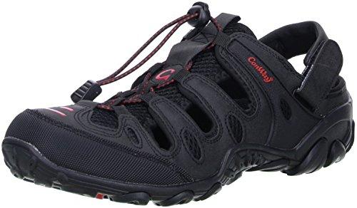 ConWay Damen Herren Trekkingsandalen Outdoorschuhe schwarz/rot, Größe:44;Farbe:Schwarz
