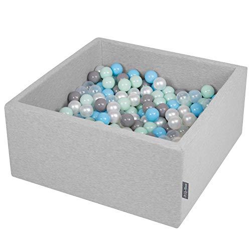 KiddyMoon 90X40cm/300 Balles ∅ 7Cm Carré Piscine À Balles pour Bébé Fabriqué en UE, Gris Clair: Perle-Gris-Transparent-Babyblue-Menthe
