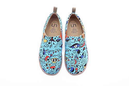 UIN Damen Blue Ocean Gemalte Canvas Loafer Schuhe Blau(39) (Loafer Canvas)