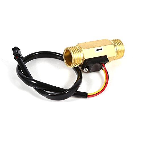 """Fdit 60mm G1 / 2"""" Kupfer Gewinde Durchflussmesser Wasser Halleffekt Flüssigkeit Wasserdurchflusssensor Durchflussmesser Fluidmeter Flüssigkeitswasser Durchflussmesser Meter 1-30L / min"""