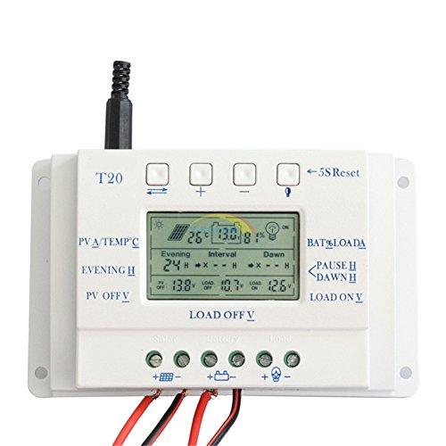 Y-SOLAR 20A 12V 24V per Dual Timer Dispaly LCD Sistema di illuminazione solare regolatore di (Sistema Dual Corto)