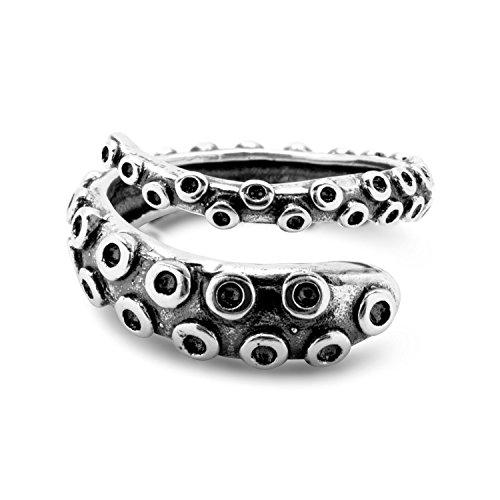 Oktopus Tentakel Ring Größenverstellbar 925 Sterling Silber by Serebra Jewelry (Antik)