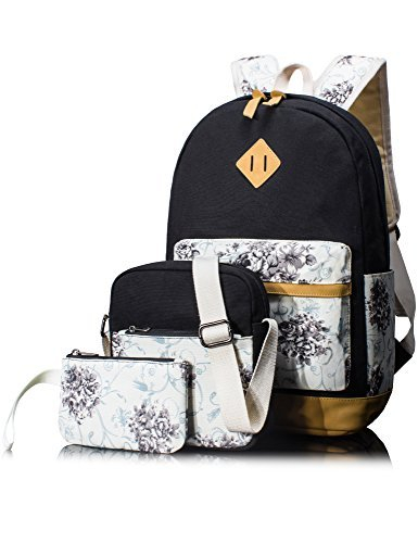 Leaper Cute Floral Canvas School Backpack Laptop Shoulder Bag Travel Rucksack Pencil Case Casual Daypack 3PCS Black