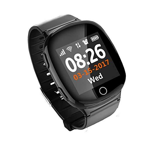 YSCYLY Rastreadores de Ejercicios Reloj Inteligente Reloj de posicionamiento SOS en Varios Idiomas para medir la presión Arterial Reloj Anti-perdida para el Ritmo cardíaco para Android y iOS,Black