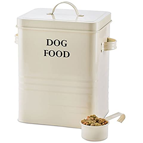 Andrew James Dog Food And Treats Storage Canister Vintage Classic Cream - 2.5kg Capacity (Cream - Serif)