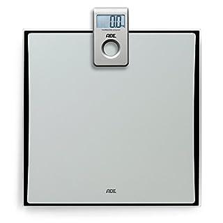 ADE Digitale Personenwaage BE 1307 Tilda mit Funk-Display. Elektronische Badezimmerwaage in besonders flachem Design zur genauen Gewichtsbestimmung bis 180 kg. Inklusive Batterie. Silber