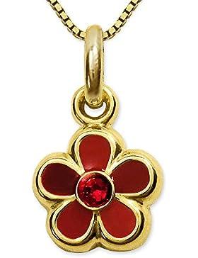 CLEVER SCHMUCK-SET Goldener Anhänger kleine Blume 8 mm rot abgestuft lackiert mit Zirkoniastein rubinrot glänzend...