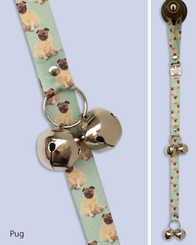 Artikelbild: Poochie-Bells Housetraining Dog Doorbell, Breed-Specific Design (12 Breeds Available) (Pug) by PoochieBells