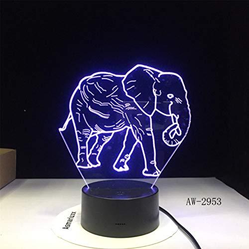Night Lights Vision Light-lampe Täuschungslampe Tanz Elefant 3d Führenden Nachtlichter Mit 7 Farbig Gefärbten Wohnlichter Zu Hause Dekorative Lichter Erstaunliche Visualisierung Optische Täuschung 8300 Usb