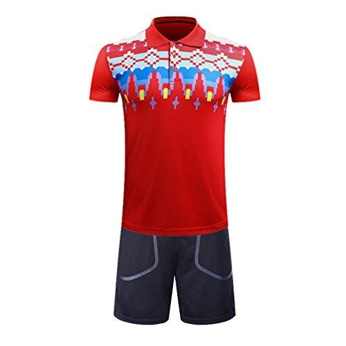 Kuncg Schnell Trocken Badminton Tragen Anzug Atmungsaktiv Sportswear Benutzerdefinierte Kurzarm-Shirt Für Herren und Jungen Rot 2XL