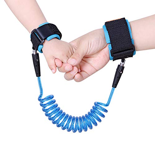 LAAT: Pulseras de seguridad para prevenir perder a los niños o bebés, con enlace y arnés de seguridad, color naranja y azul (Azul, 150mm)