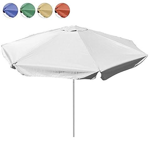 Sonnenschirm 4m mit Kurbel Alu Gestell Sonnenschutz Gartenschirm (Weiß), Polyester 160 g/m² Gewicht