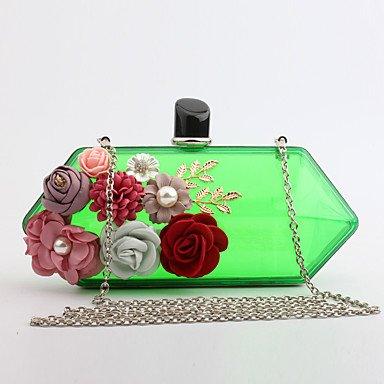pwne L. In West Woman Fashion Luxus High-Grade Blumen Und Transparentem Acryl Abend Tasche Green
