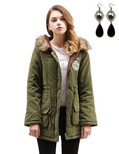 Sitengle Donna Cappotto Con Cappuccio Addensare Vello Parka Coulisse In Vita Cappotti Collo Di Pelliccia Manica Lunga Hoodie Coats Per Inverno Verde