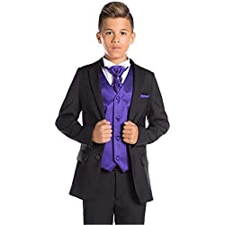 Paisley of London, Niño Negro Traje, Corte Ajustado traje, Página Chico traje, Graduación traje, 12-18 Meses - 13 Años - Morado, 7 años