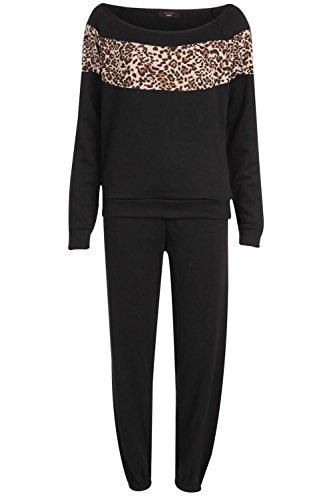 Fast Fashion Damen Trainingsanzug Promi Inspiriert Leoparden Und Armee Drucken Fleece (Hose Fleece Leopard)