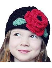 LadyMYP©Handgemachte Strickmütze, Babymütze, Kindermütze, Hüte, 100% Wolle, schwarze Mütze mit roter Blume