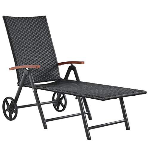 Nishore Sonnenliege mit 2 Rädern Poly - Liegestuhl ist klappbar - Strandliege aus - Garten Rattanliege-Outdoor Liegestuh - Verstellbar Rattan Relaxliege - Relaxliege für den Garten Rattan Schwarz