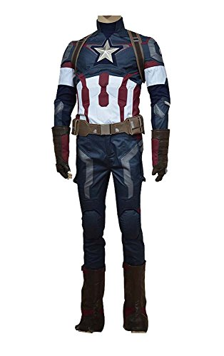 Avengers: Age of Ultron Captain America Steve Rogers Uniform Outfit Cosplay Kostüm (America Captain Kostüm Ultron)