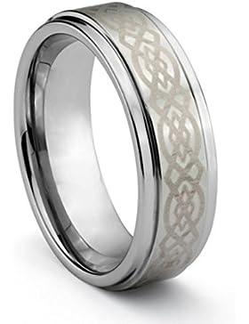 Herren-Ring massives Wolfram Keltischer Knoten in Geschenkkästchen