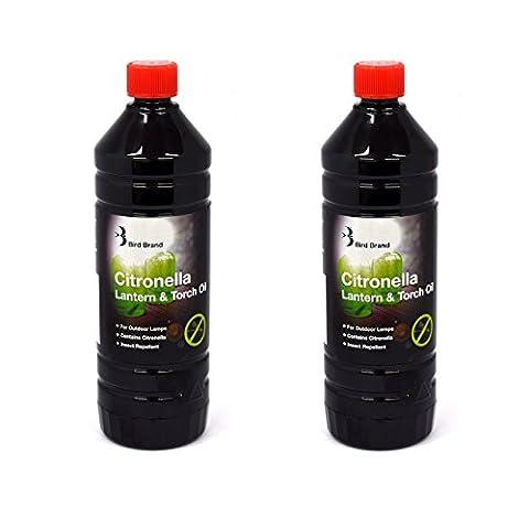 Bird Brand Lot de 2bouteilles d'huile anti-insectes pour lampe à huile Parfum citronnelle 1 l