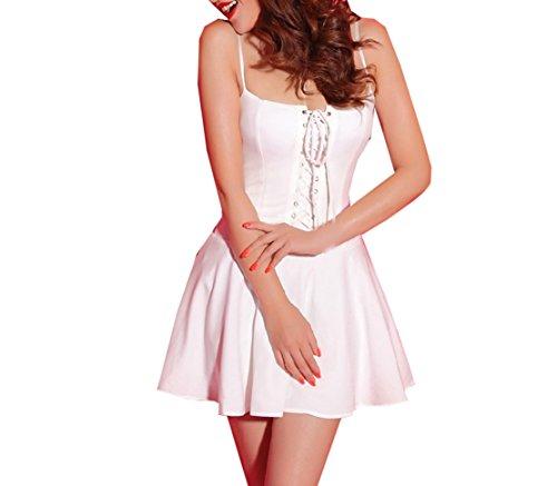 Damen Strandkleider Mode Reizvolle Wickeloptik Slim Strandkleider Sling tutu Minikleid Die Gekreuzte Trägervariante Blusenkleider Weiß