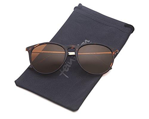 Vintage Sonnenbrille im angesagtem 60er Style mit trendigen bronzefarbenden Metallbügeln (Leopardenmuster)