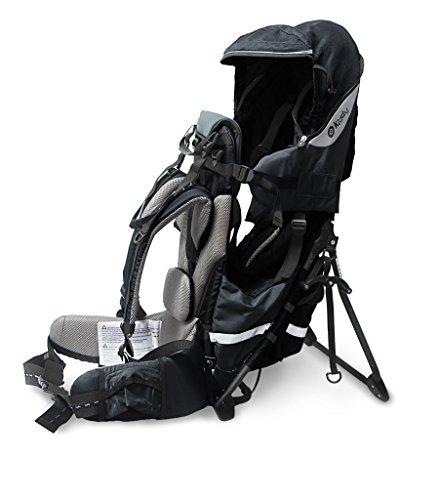 kiddy 47200TR029 Adventure Pack Rückentrage, integriertes Sonnen- und Regenverdeck, einklappbarer Standfuß, (70 - max. 105 cm, circa 5 Monate - 4 Jahre, 7.3 - 18 kg), Light, grau Schwarz