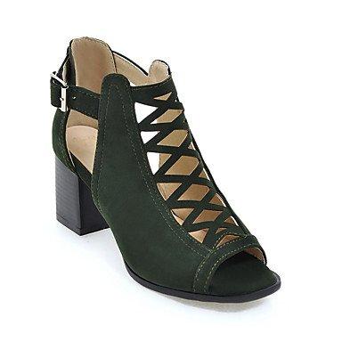 LvYuan Da donna-Sandali-Casual-Altro-Quadrato-Finta pelle-Nero Tessuto almond Esercito verde Black