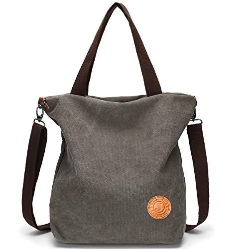 JANSBEN Damen Canvas Handtasche Schultertasche Casual Multifunktionale Umhängetaschen Groß für Arbeit Schule Shopper Lässige täglich (Grau) -