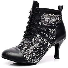 fb045f628 Willsego QJ6176 Botines de Baile Latino para Mujer de Cuero Negro con Salsa  Social Tango Salón