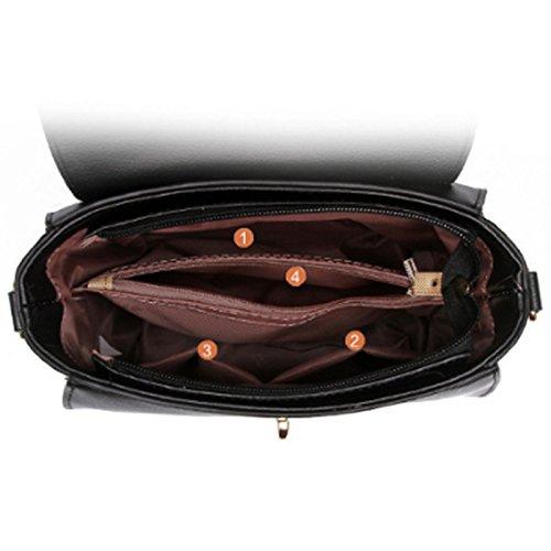 Sacchetto del messaggero di cuoio della borsa della borsa della borsa di cuoio delle donne Nero