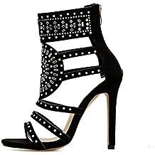 Solike Femmes Escarpins Sexy Talon Haut Aiguille Sandales en Strass PU  Casual Chaussures à Printemps Été a3d3e486f899