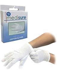 Lot de 6paires de taille moyenne 100% coton Blanc Hydratant Doublure l'eczéma individuellement Medisure Gants