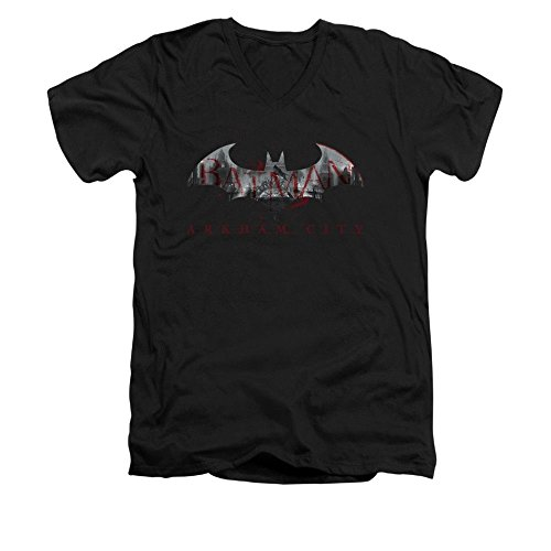 Batman Arkham City Bat Fill T-Shirt mit V-Ausschnitt - Schwarz - X-Groß (Batman Arkham City Shirt)