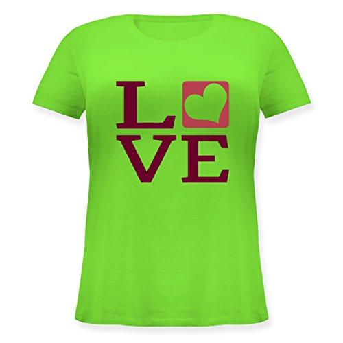 Valentinstag - LOVE Herz Typographie - Lockeres Damen-Shirt in großen Größen mit Rundhalsausschnitt Hellgrün