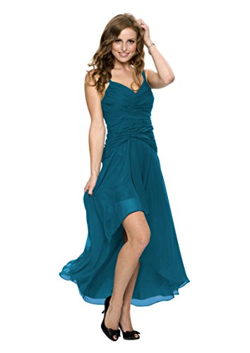 Astrapahl Damen Cocktail Kleid mit schönen Raffungen, Knielang, Einfarbig, Gr. 38, Türkis