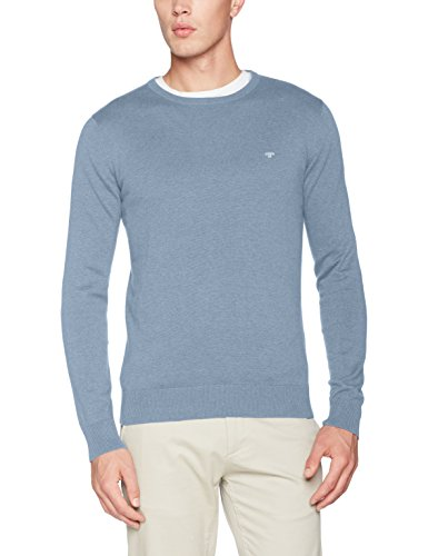 TOM TAILOR Herren Sweatshirt Basic Crew-Neck Sweater, Blau (Clouds Heaven Blue Melange 6497), Medium