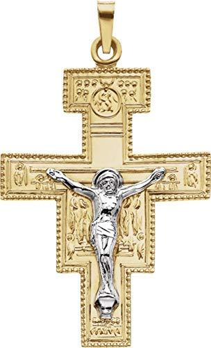 14kt Gelb & Weiß 33x 25mm San Damiano Kruzifix Anhänger